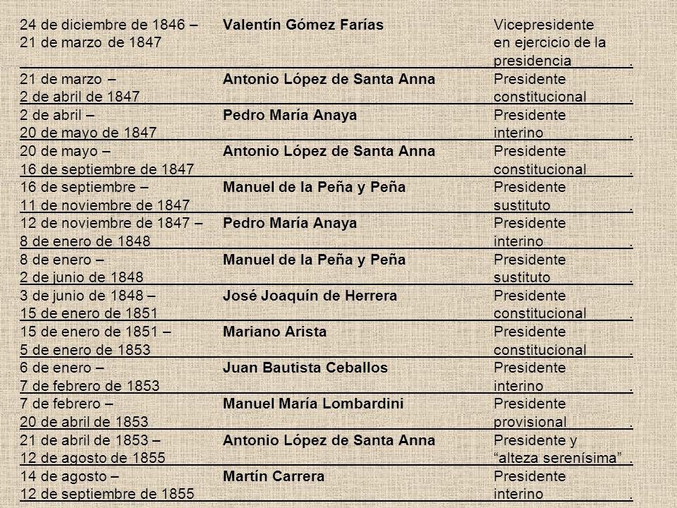 24 de diciembre de 1846 –. Valentín Gómez Farías