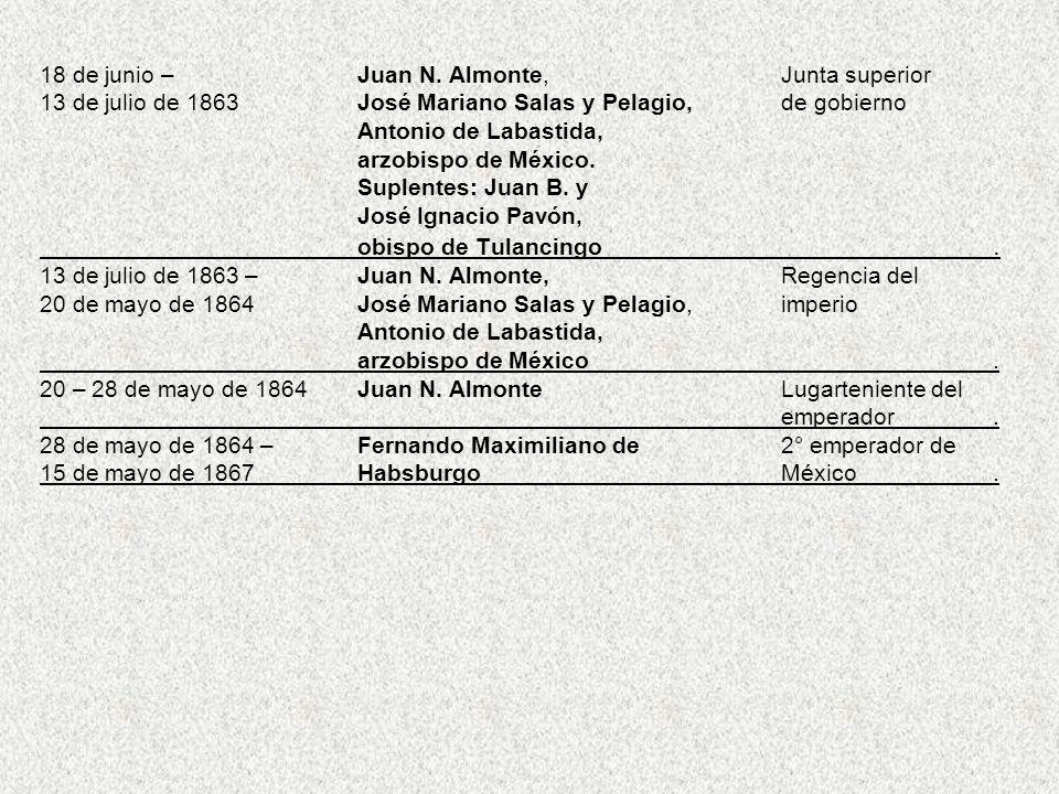 18 de junio –. Juan N. Almonte,. Junta superior 13 de julio de 1863