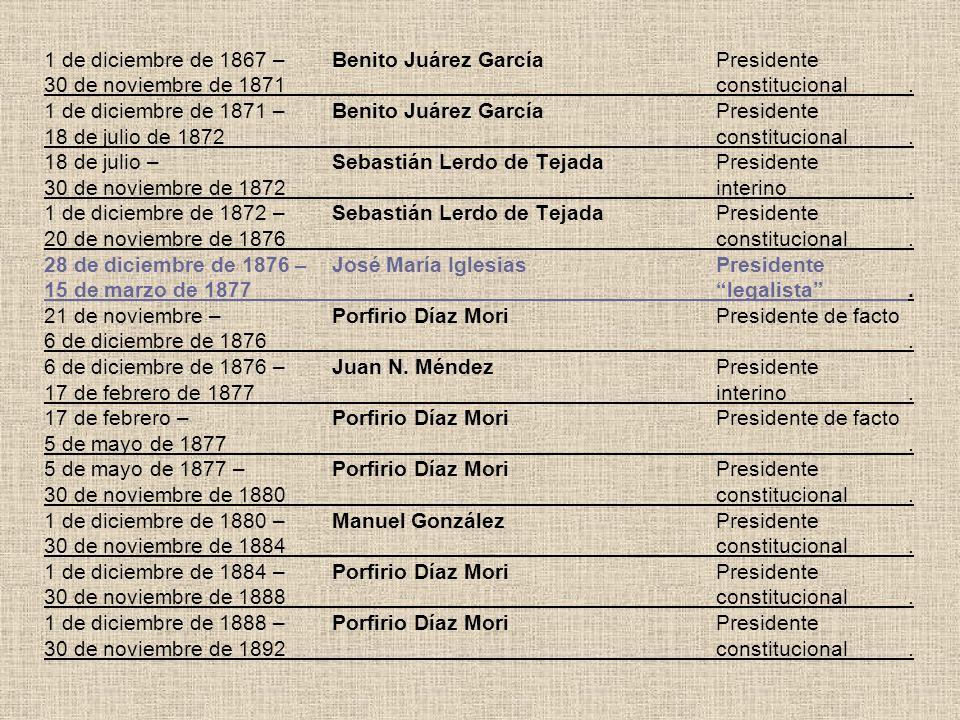 1 de diciembre de 1867 –. Benito Juárez García