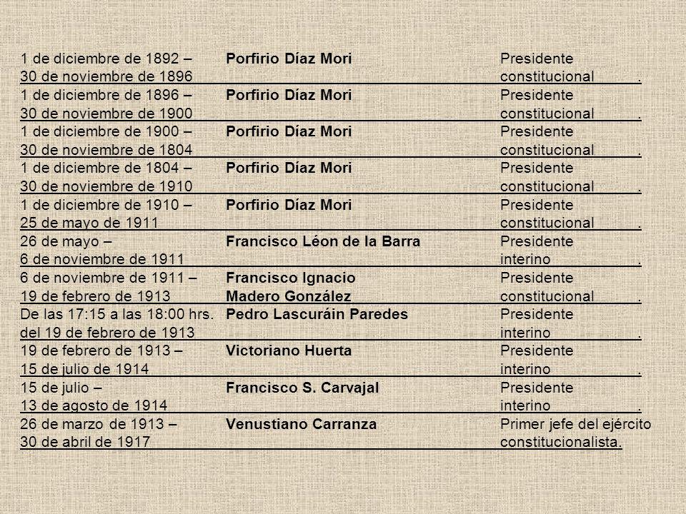 1 de diciembre de 1892 –. Porfirio Díaz Mori