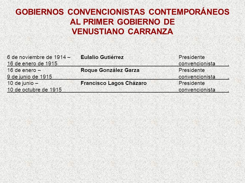 GOBIERNOS CONVENCIONISTAS CONTEMPORÁNEOS