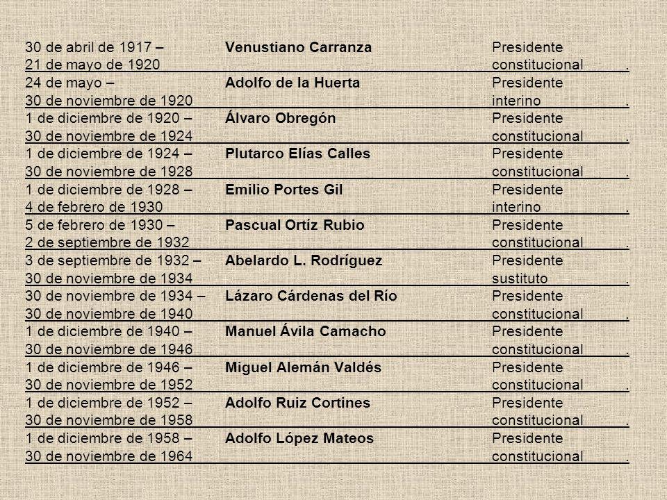 30 de abril de 1917 –. Venustiano Carranza