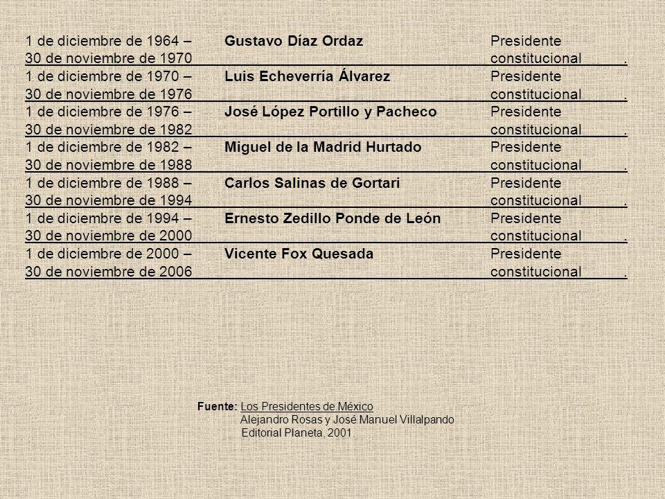 1 de diciembre de 1964 –. Gustavo Díaz Ordaz