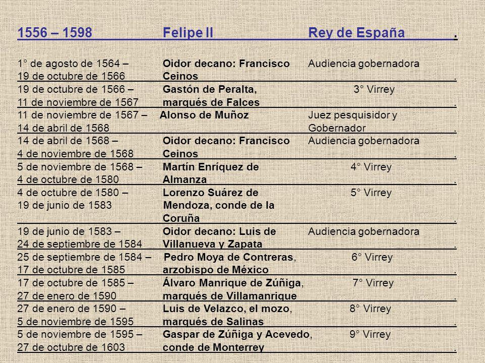 1556 – 1598 Felipe II Rey de España .
