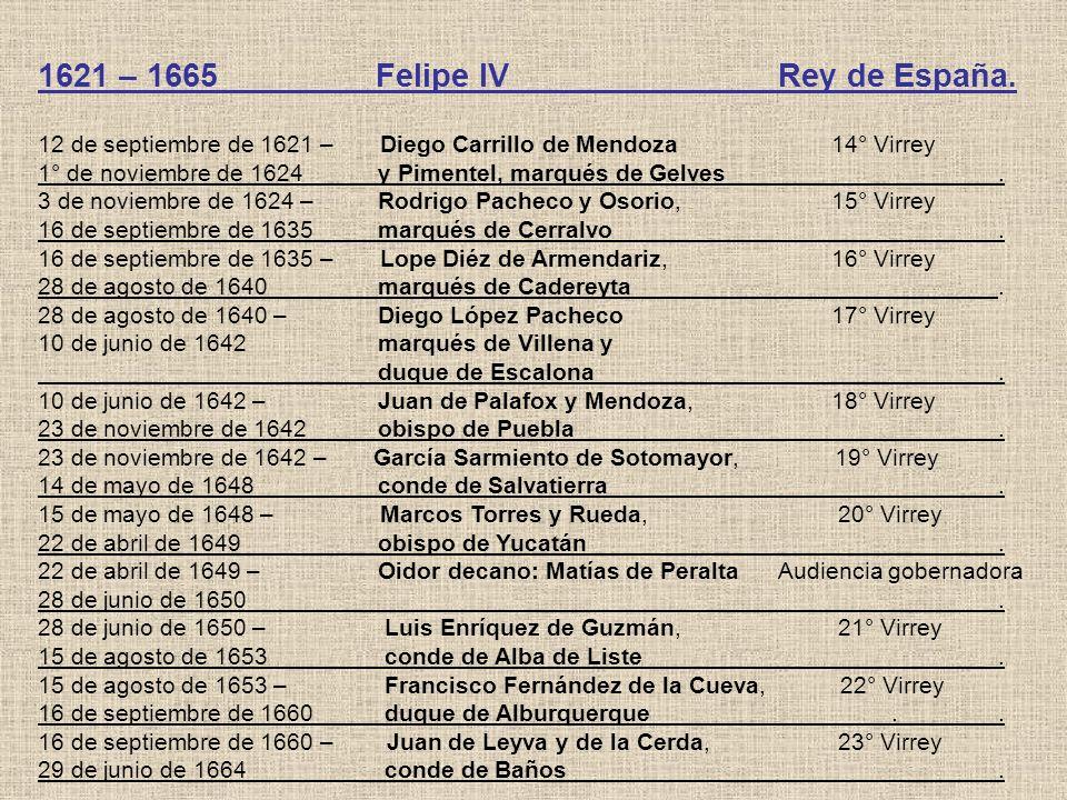 1621 – 1665 Felipe IV Rey de España.