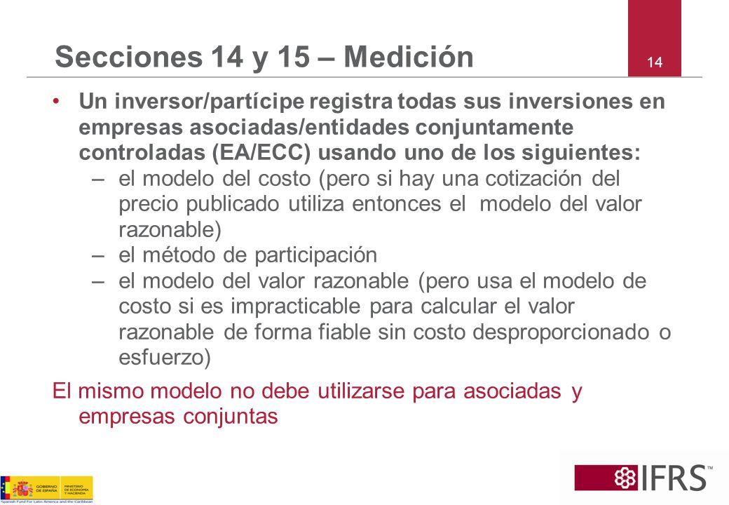 Secciones 14 y 15 – Medición 14.