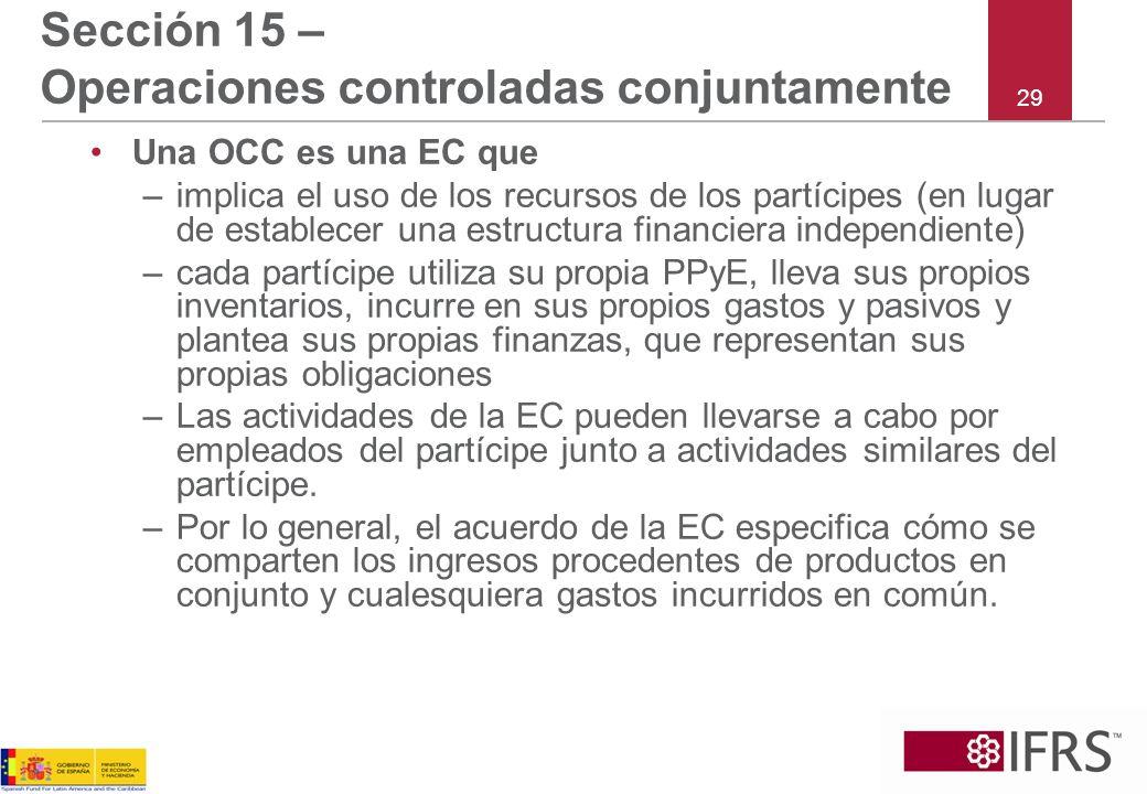Sección 15 – Operaciones controladas conjuntamente