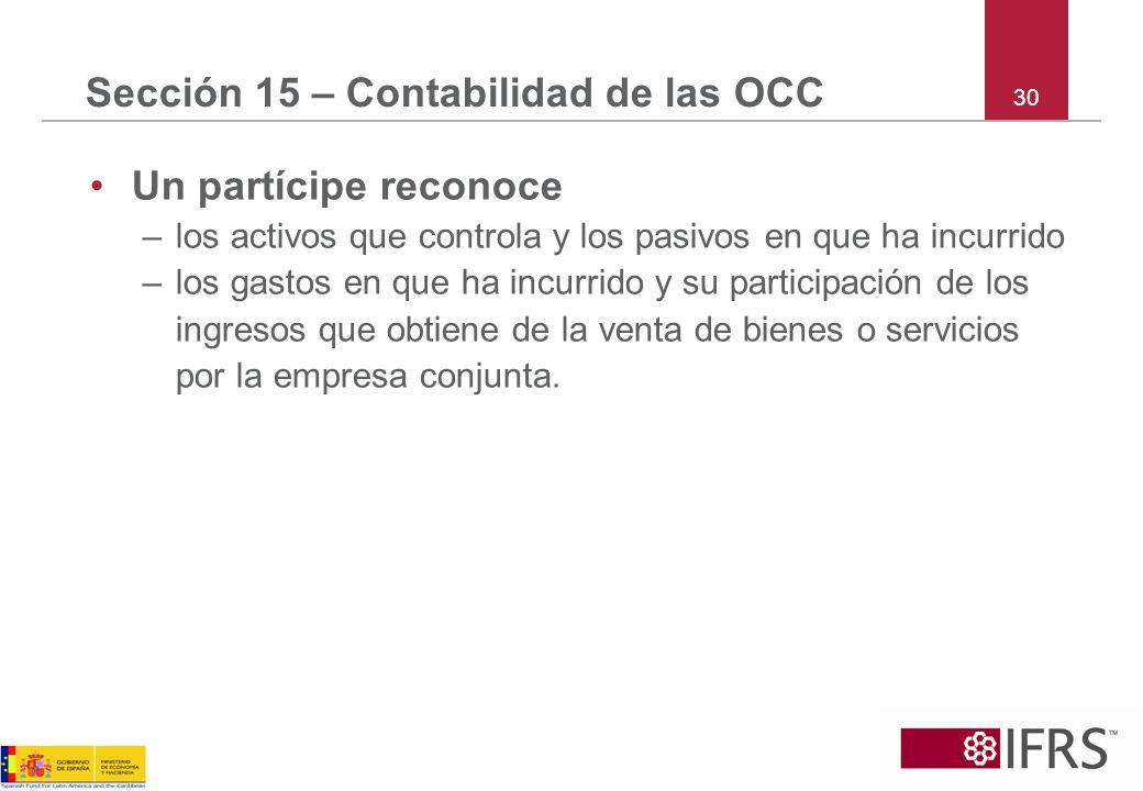 Sección 15 – Contabilidad de las OCC