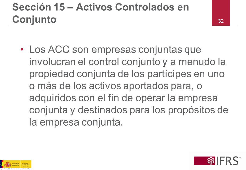 Sección 15 – Activos Controlados en Conjunto