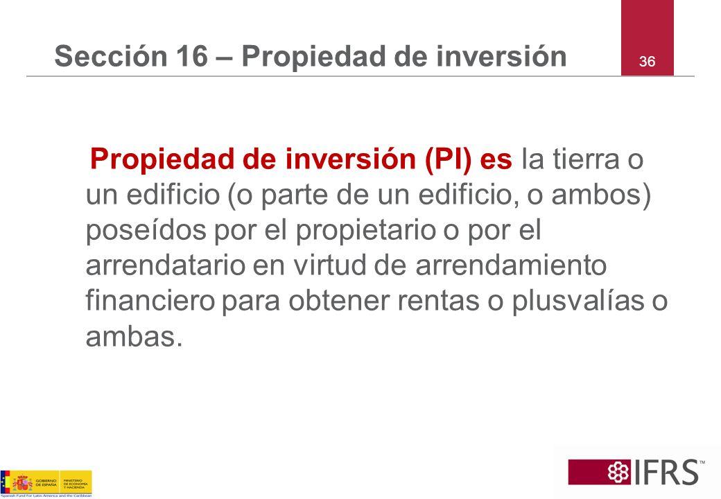 Sección 16 – Propiedad de inversión