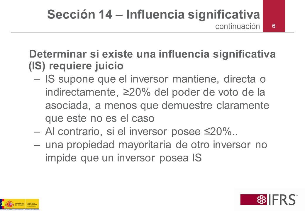 Sección 14 – Influencia significativa continuación