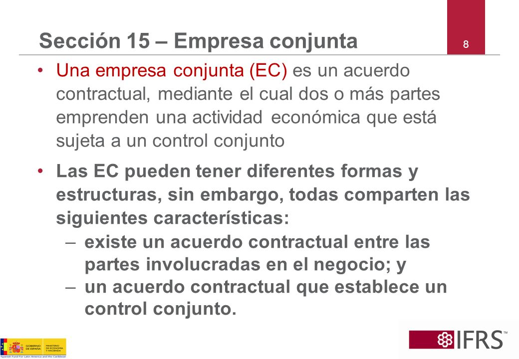 Sección 15 – Empresa conjunta