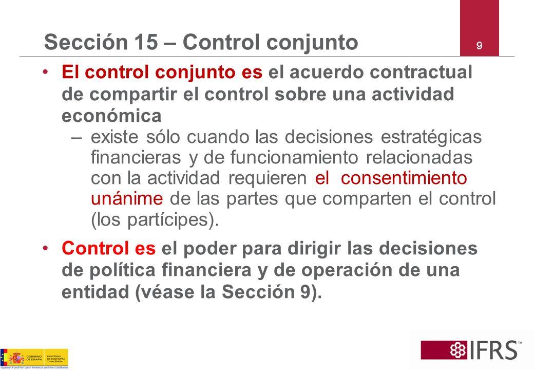 Sección 15 – Control conjunto