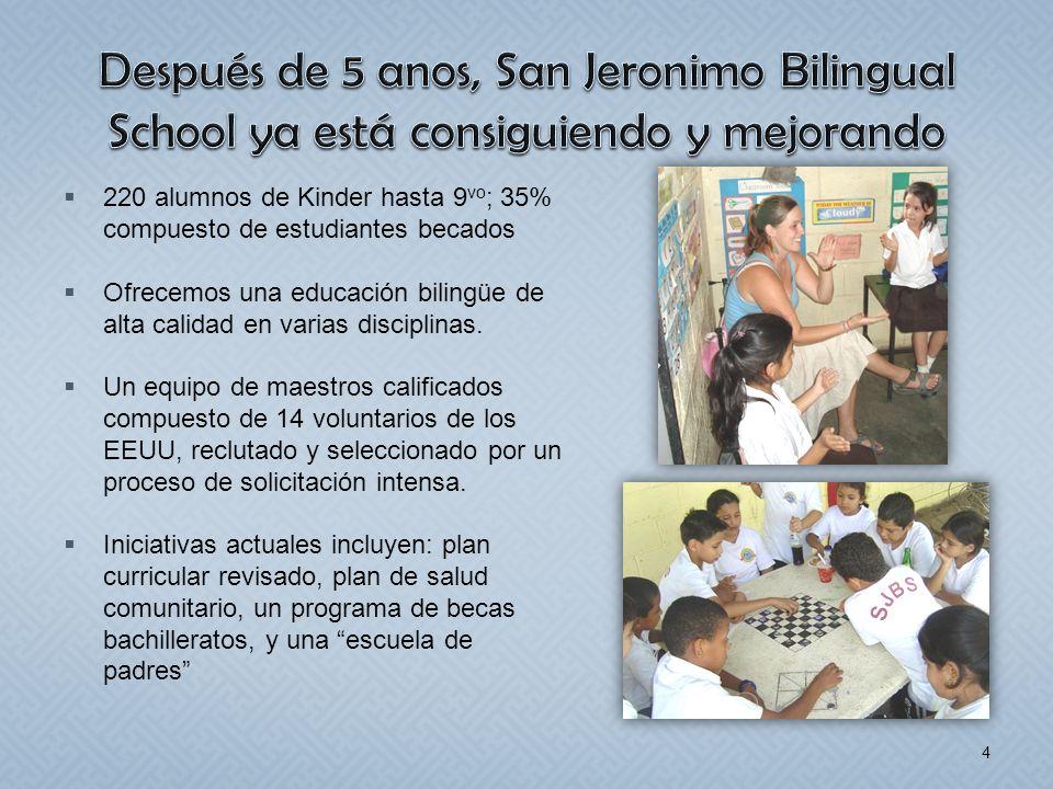 Después de 5 anos, San Jeronimo Bilingual School ya está consiguiendo y mejorando