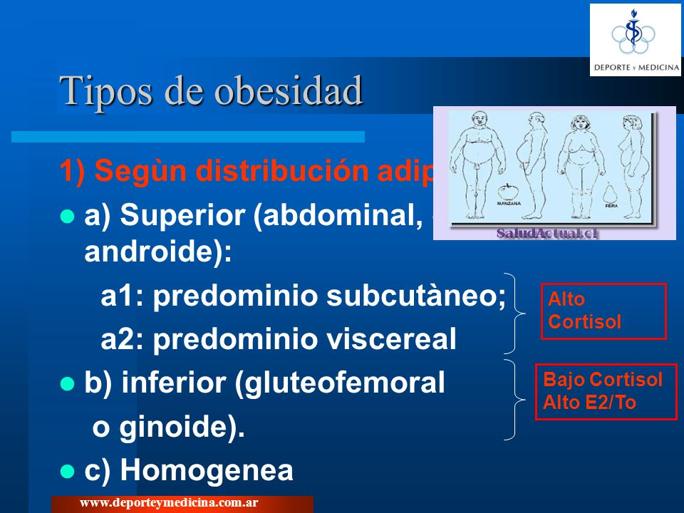 Tipos de obesidad 1) Segùn distribución adiposa: