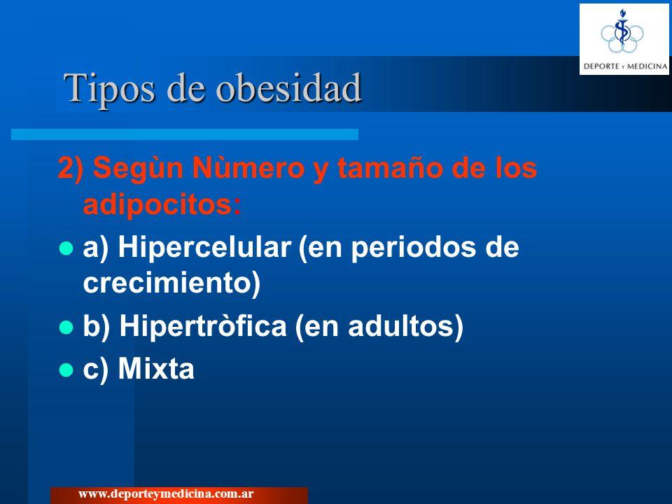 Tipos de obesidad 2) Segùn Nùmero y tamaño de los adipocitos: