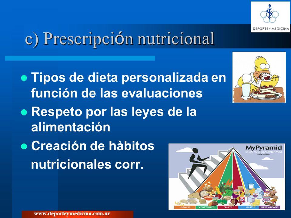 c) Prescripción nutricional