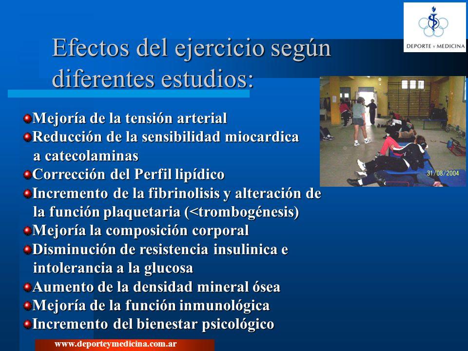 Efectos del ejercicio según diferentes estudios: