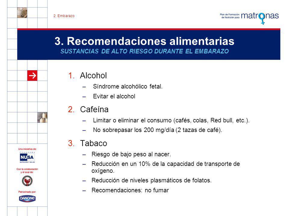 2. Embarazo 3. Recomendaciones alimentarias SUSTANCIAS DE ALTO RIESGO DURANTE EL EMBARAZO. Alcohol.