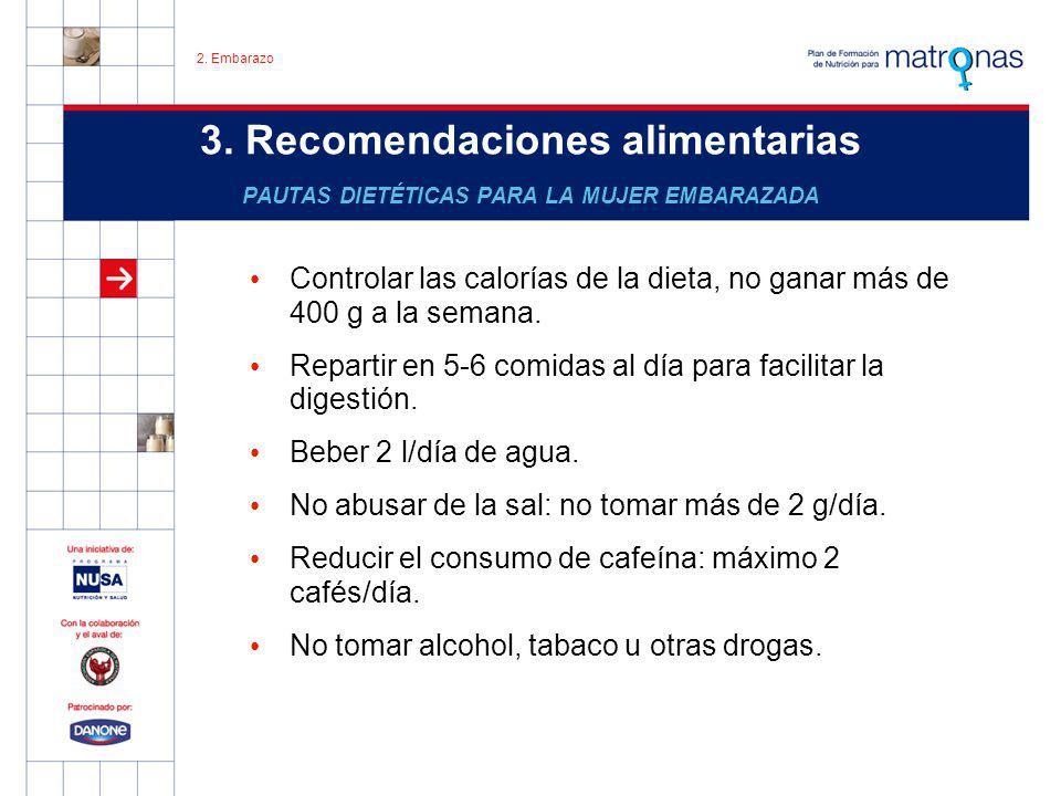 2. Embarazo 3. Recomendaciones alimentarias PAUTAS DIETÉTICAS PARA LA MUJER EMBARAZADA.