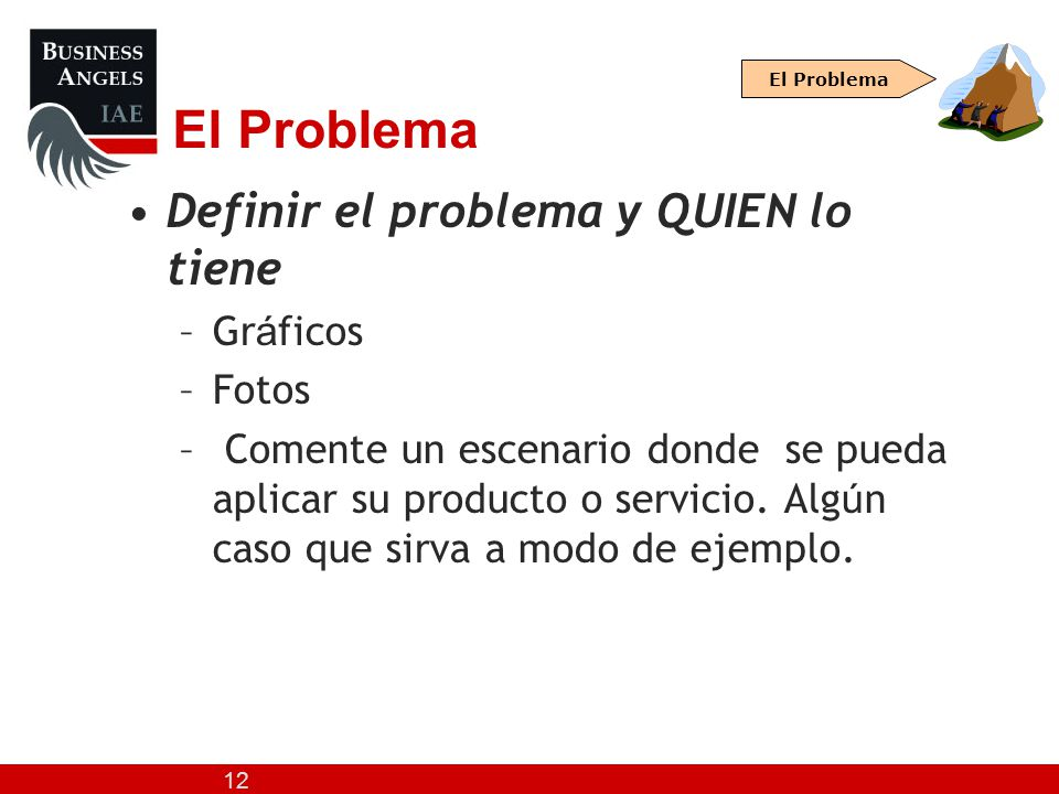 El Problema Definir el problema y QUIEN lo tiene Gráficos Fotos