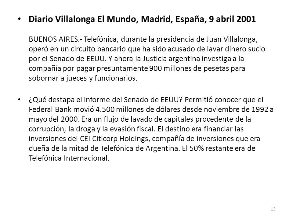 Diario Villalonga El Mundo, Madrid, España, 9 abril 2001 BUENOS AIRES