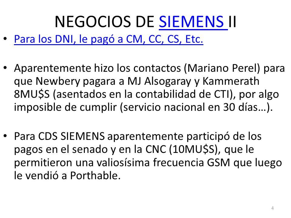 NEGOCIOS DE SIEMENS II Para los DNI, le pagó a CM, CC, CS, Etc.