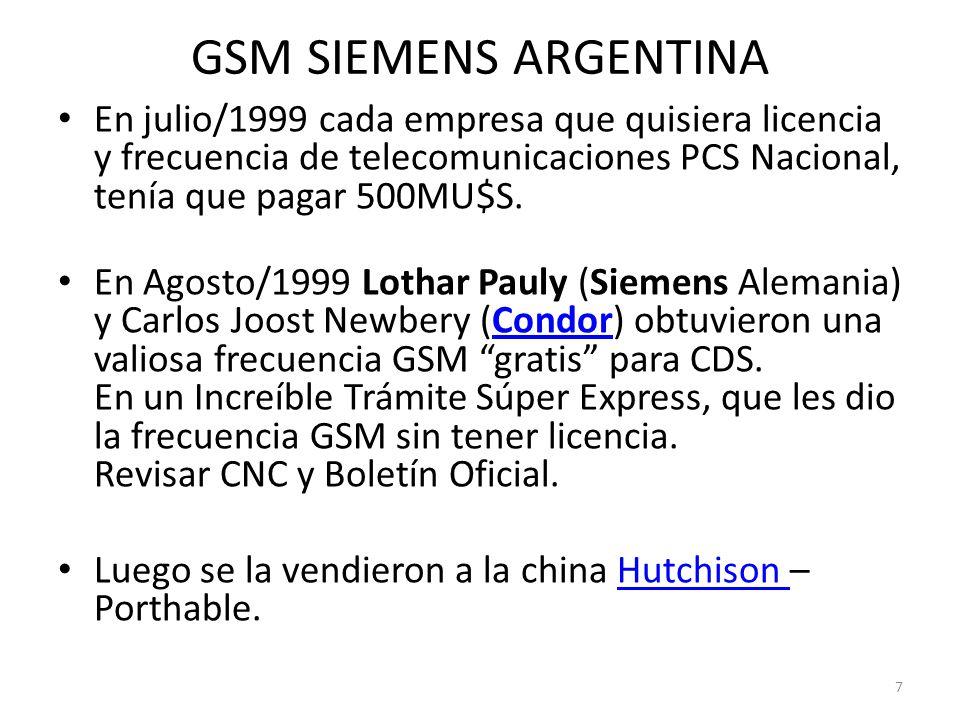 GSM SIEMENS ARGENTINA En julio/1999 cada empresa que quisiera licencia y frecuencia de telecomunicaciones PCS Nacional, tenía que pagar 500MU$S.