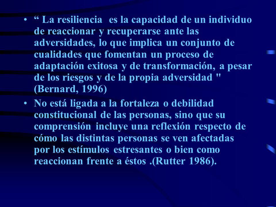 La resiliencia es la capacidad de un individuo de reaccionar y recuperarse ante las adversidades, lo que implica un conjunto de cualidades que fomentan un proceso de adaptación exitosa y de transformación, a pesar de los riesgos y de la propia adversidad (Bernard, 1996)