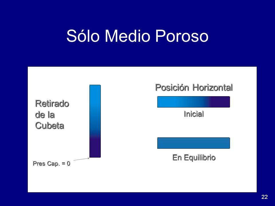 Sólo Medio Poroso Posición Horizontal Retirado de la Cubeta Inicial