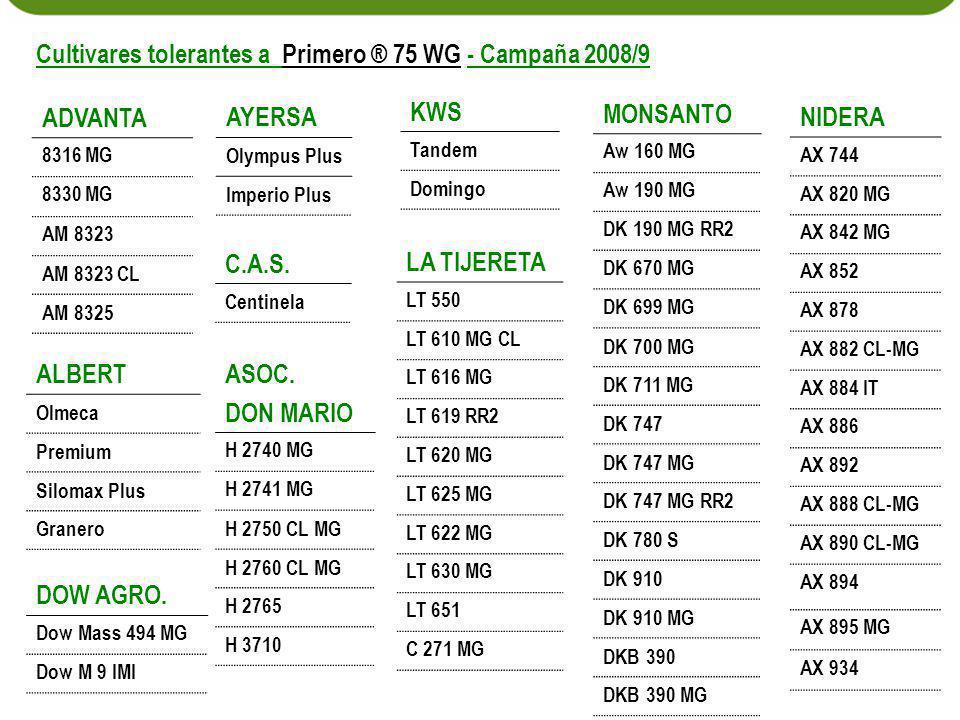Cultivares tolerantes a Primero ® 75 WG - Campaña 2008/9 KWS ADVANTA