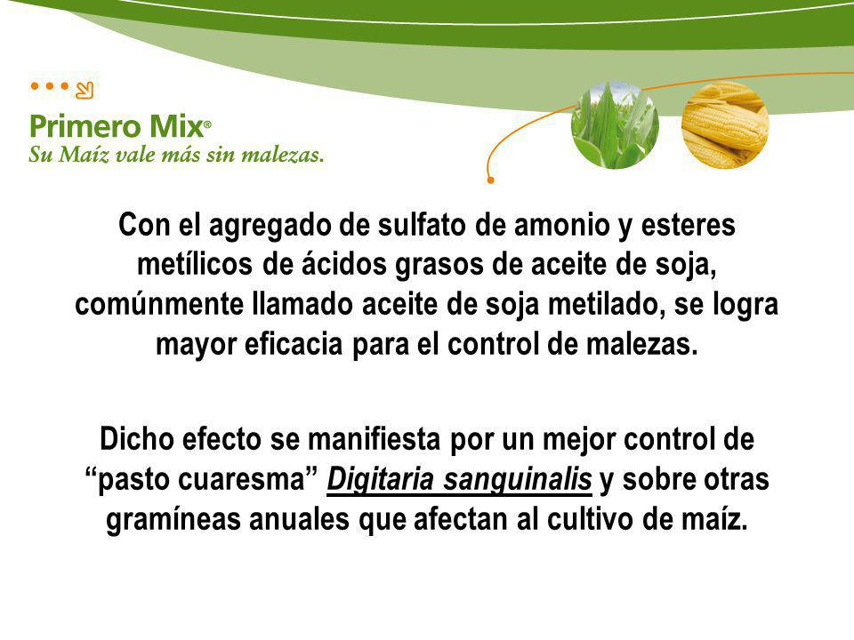 Con el agregado de sulfato de amonio y esteres metílicos de ácidos grasos de aceite de soja, comúnmente llamado aceite de soja metilado, se logra mayor eficacia para el control de malezas.