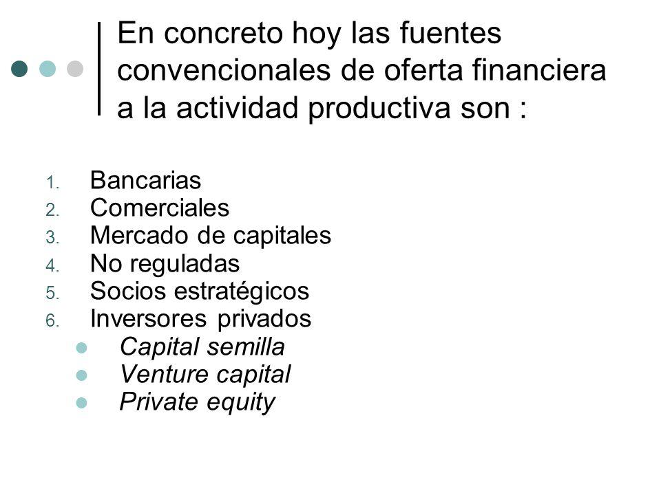 En concreto hoy las fuentes convencionales de oferta financiera a la actividad productiva son :