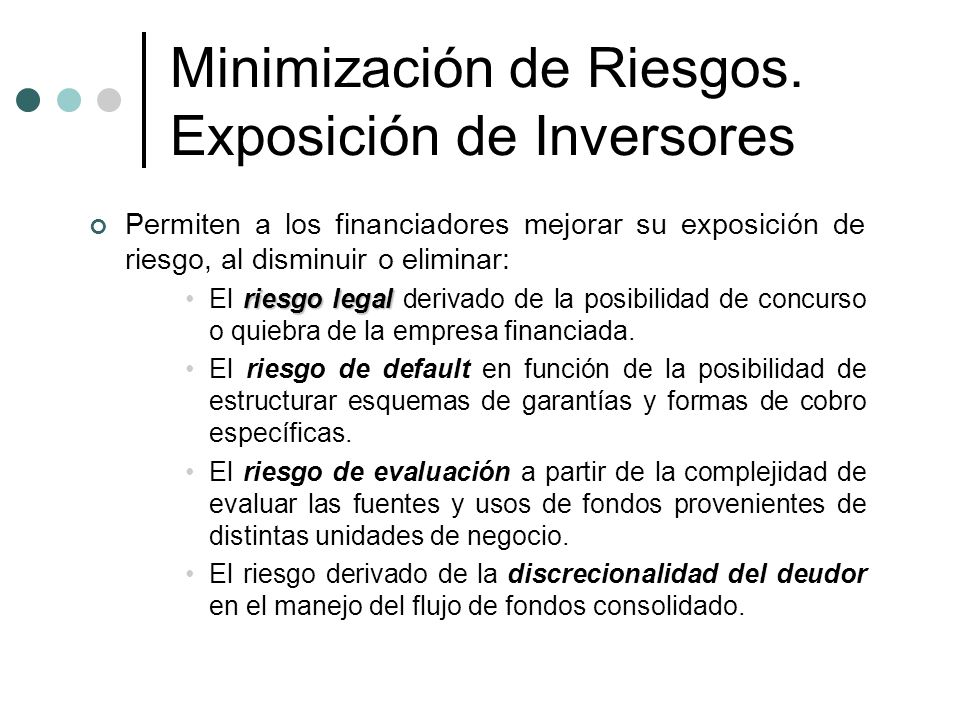 Minimización de Riesgos. Exposición de Inversores