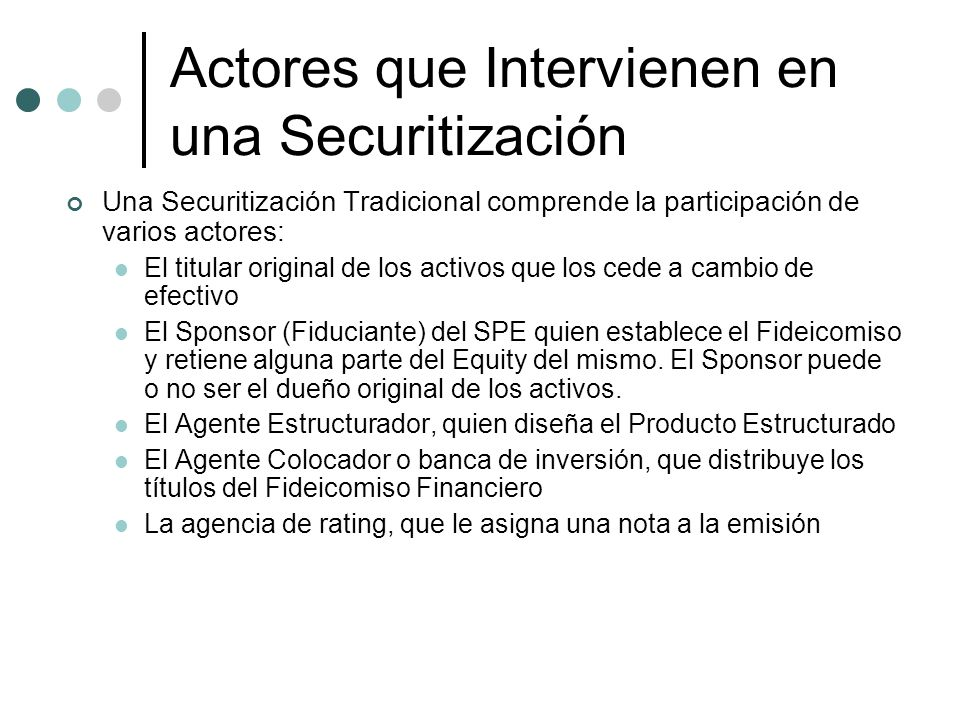 Actores que Intervienen en una Securitización