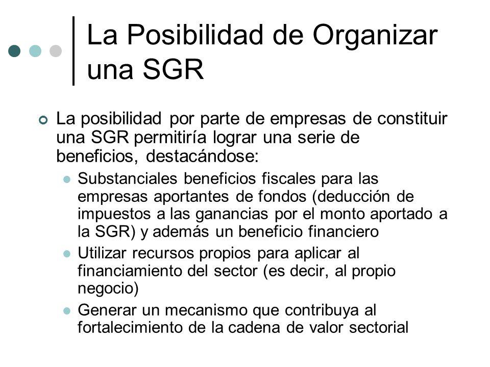 La Posibilidad de Organizar una SGR