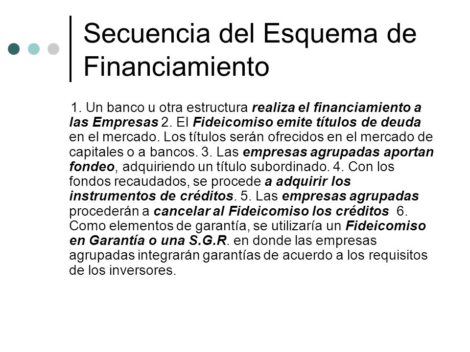 Secuencia del Esquema de Financiamiento