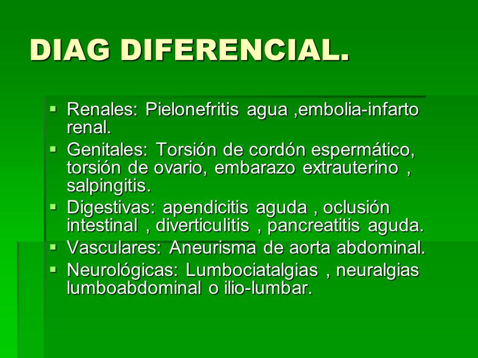 DIAG DIFERENCIAL. Renales: Pielonefritis agua ,embolia-infarto renal.