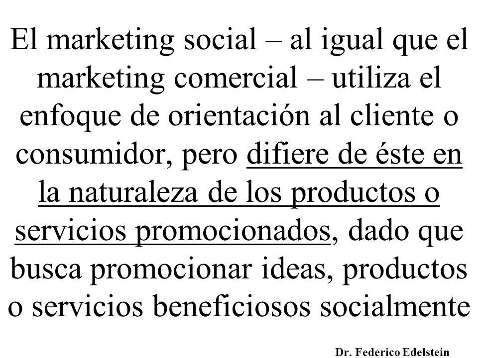 El marketing social – al igual que el marketing comercial – utiliza el enfoque de orientación al cliente o consumidor, pero difiere de éste en la naturaleza de los productos o servicios promocionados, dado que busca promocionar ideas, productos o servicios beneficiosos socialmente
