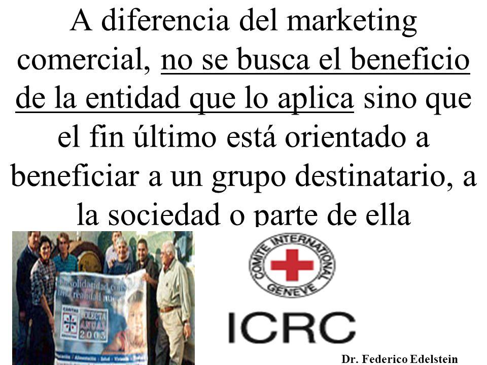 A diferencia del marketing comercial, no se busca el beneficio de la entidad que lo aplica sino que el fin último está orientado a beneficiar a un grupo destinatario, a la sociedad o parte de ella