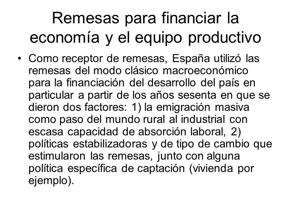 Remesas para financiar la economía y el equipo productivo