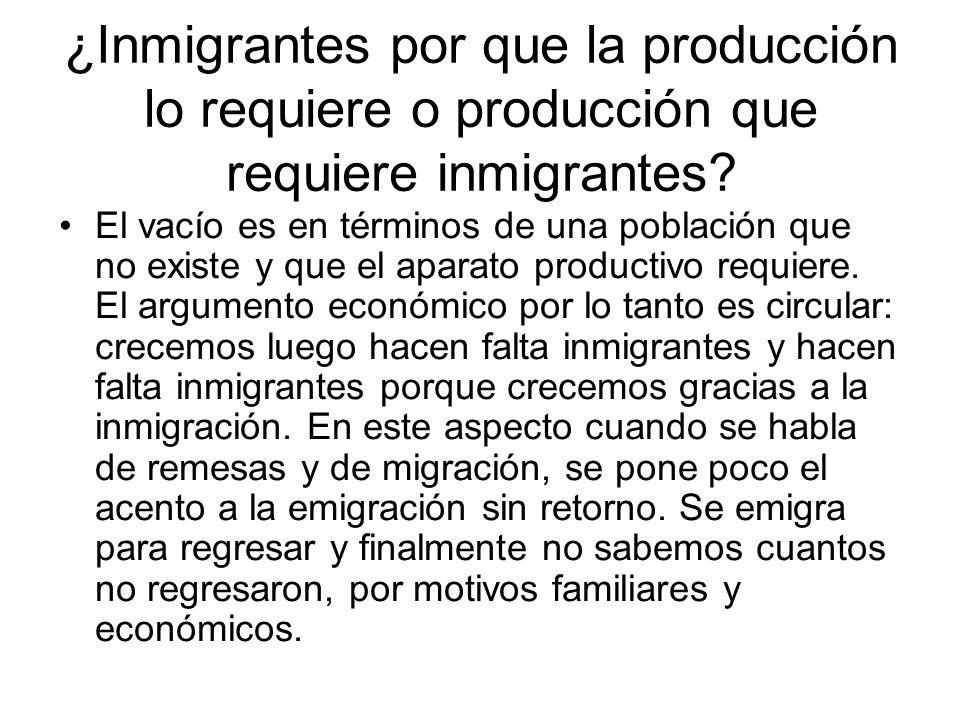 ¿Inmigrantes por que la producción lo requiere o producción que requiere inmigrantes