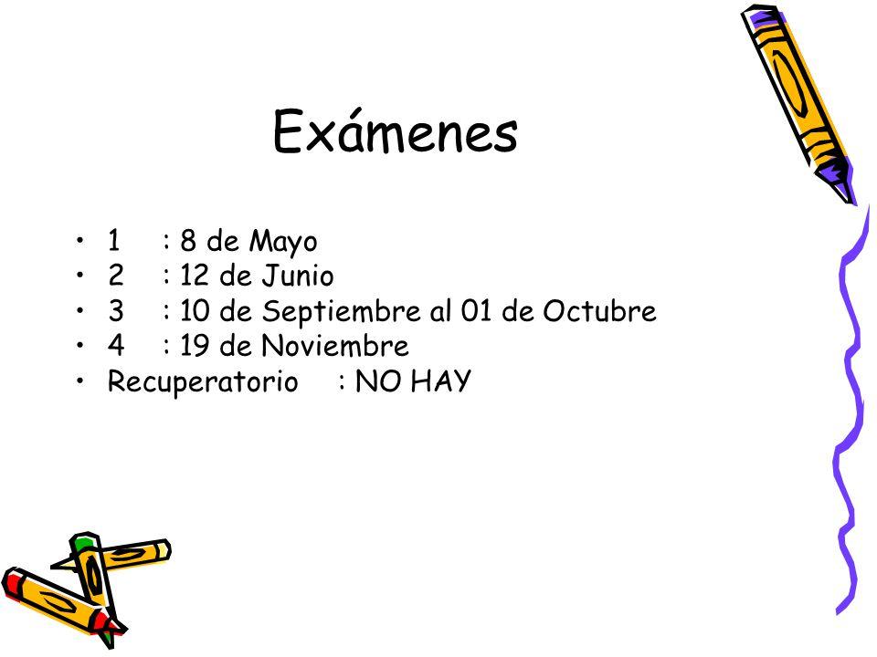 Exámenes 1 : 8 de Mayo 2 : 12 de Junio