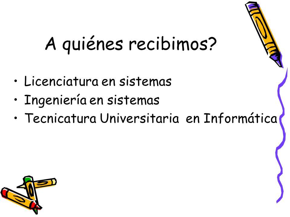 A quiénes recibimos Licenciatura en sistemas Ingeniería en sistemas