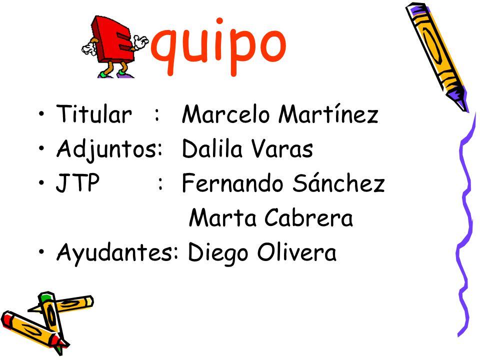 quipo Titular : Marcelo Martínez Adjuntos: Dalila Varas