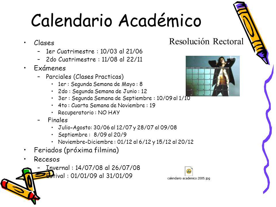 Calendario Académico Resolución Rectoral Clases Exámenes