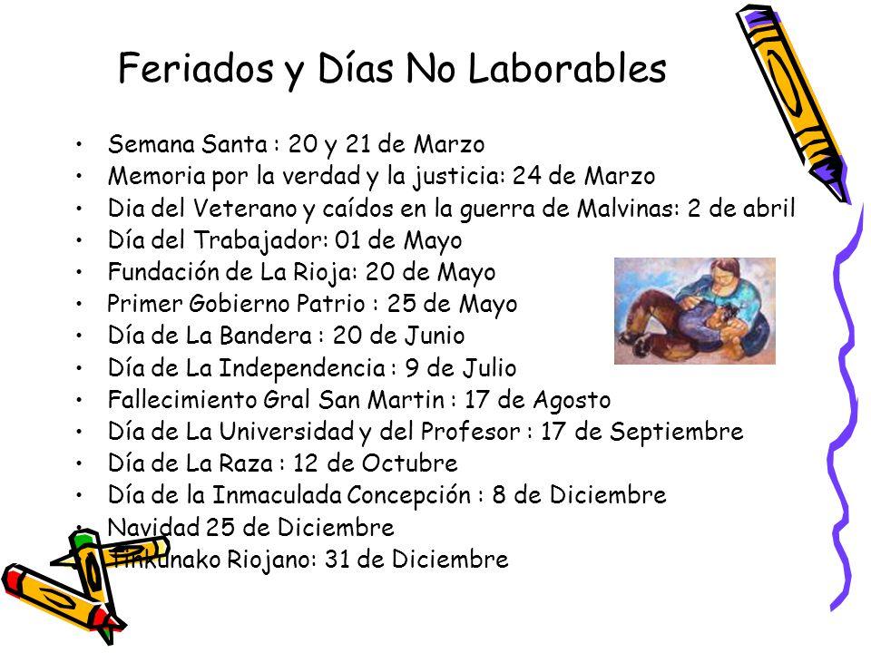 Feriados y Días No Laborables