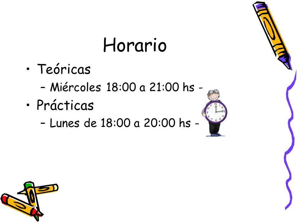 Horario Teóricas Prácticas Miércoles 18:00 a 21:00 hs -