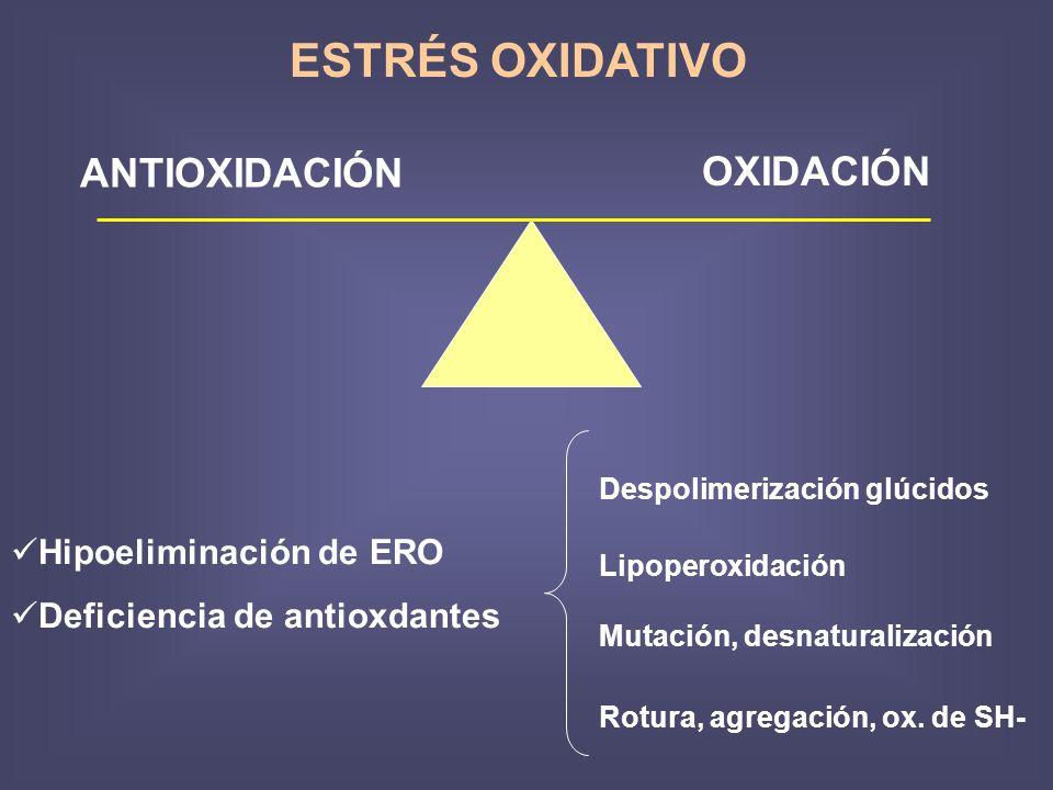 ESTRÉS OXIDATIVO ANTIOXIDACIÓN OXIDACIÓN Hipoeliminación de ERO
