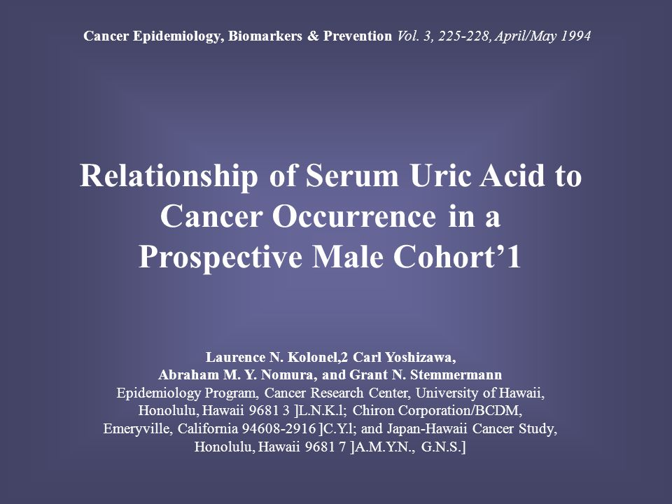 Relationship of Serum Uric Acid to Cancer Occurrence in a